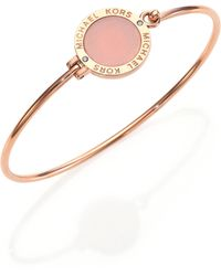 Michael Kors Rose & Blush Logo Disc Bangle Bracelet - Lyst