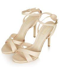 Topshop Rumour Cross-Strap Sandals beige - Lyst