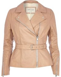 River Island Pink Leather Peplum Jacket - Lyst
