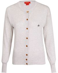 Vivienne Westwood Red Label Grey Orb Cotton Cardigan - Lyst