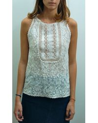 Vanessa Bruno Athé Embroidered Sleeveless Top Ivoire - Lyst