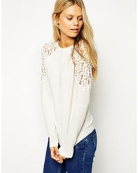 Asos Sweater with Lace Inserts - Lyst