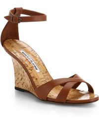 Manolo Blahnik Leather Wedge Sandals - Lyst