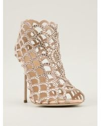 Sergio Rossi Embellished Scalloped Cage Sandals - Lyst