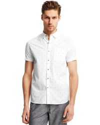 Kenneth Cole Reaction Printed Pocket Shirt white - Lyst