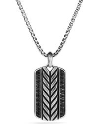 David Yurman Modern Chevron Tag Necklace with Black Diamonds - Lyst