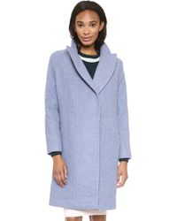 O'2nd Slim Fit Long Wool Coat - Blue - Lyst