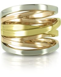 Michael Kors - Yellow Rose Gold And Silver Eternity Ring - Lyst