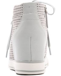 DKNY - Cindy Perforated Wedge Trainers - Grey - Lyst