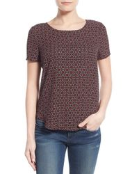 Pleione | Pleat Back Woven Print Top | Lyst