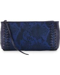 Elliott Lucca Maia Snakeembossed Woven Clutch - Lyst