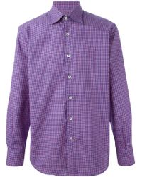 Canali Blue Checked Shirt - Lyst