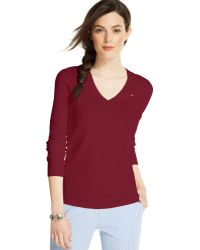 Tommy Hilfiger Long-sleeve V-neck Sweater - Lyst