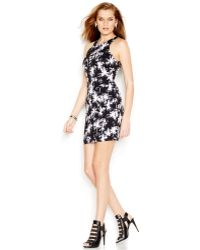 Guess Printed Bodycon Dress black - Lyst