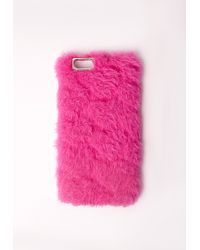 Missguided - Fluffy Iphone 5 Case Hot Pink - Lyst