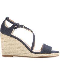 Tabitha Simmons Liu Denim Wedge Sandals - Lyst