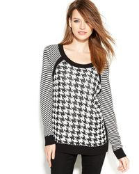 Vince Camuto Two by Mixedstitch Houndstooth Sweater - Lyst