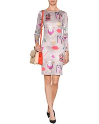 Mary Katrantzou Silk Satin Sheath Dress - Lyst