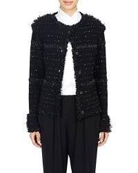 Lanvin Bouclé Tweed Sweater Jacket - Lyst