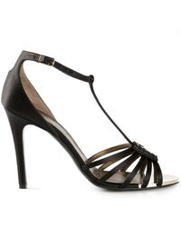 Lanvin Black Strappy Sandals - Lyst