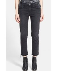 Current/Elliott 'The Cropped Straight' Destroyed Jeans - Lyst