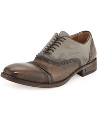 John Varvatos Leather  Canvas Double-bal Oxford - Lyst