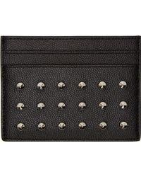 Saint Laurent Black Studded Leather Card Holder - Lyst