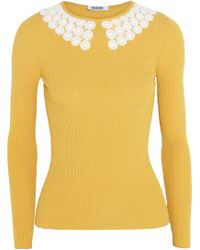 Moschino Cheap & Chic Crocheted Collar Ribbed-knit Sweater - Lyst