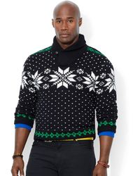 Ralph Lauren Polo Big and Tall Snowflake Shawl Sweater - Lyst