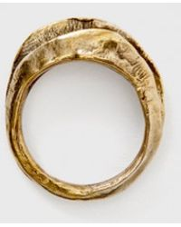Wwake Double Layered Ring gold - Lyst
