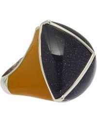 Eddie Borgo - Navy Three Side Pyramid Sandstone Ring - Lyst