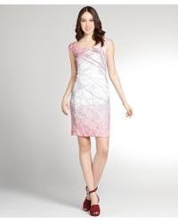 Kay Unger Pink Tree Print Sleeveless Shift Dress - Lyst