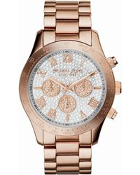 Michael Kors Mid-Size Rose Golden Stainless Steel Layton Glitz Watch - Lyst