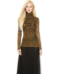 Jean Paul Gaultier Turtleneck Top - Gold - Lyst