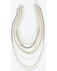 Ann Taylor Pearlized Crystal Statement Necklace - Lyst