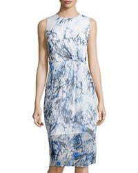 Cynthia Steffe Printed Sleeveless Midi Dress - Lyst