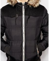 Brave Soul Padded Jacket With Detachable Hood - Lyst