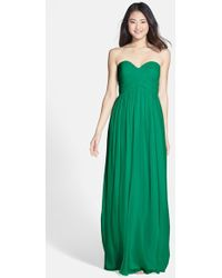 Donna Morgan 'Laura' Ruched Sweetheart Silk Chiffon Gown - Lyst