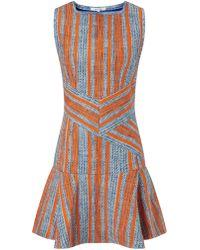 Carven Orange Multi Tweed Dress - Lyst