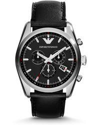 Emporio Armani Leather Chronograph Watch - Lyst