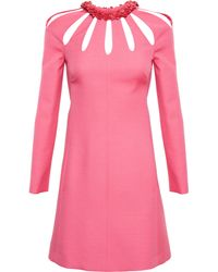 Valentino Cutout Dress with Floral Red Leather Collar - Lyst