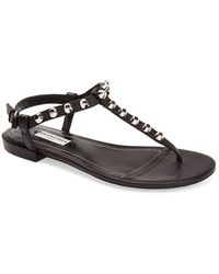 Balenciaga Studded Leather Thong Sandal - Lyst