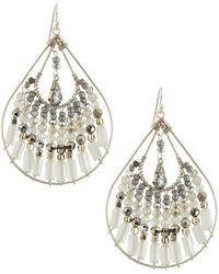 Nakamol Beaded Silvertone Drop Earrings - Lyst