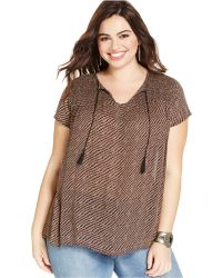 Lucky Brand Jeans Lucky Brand Plus Size Geo-Stripe Peasant Top - Lyst