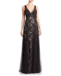 Notte by Marchesa Metallic Lace Draped Gown black - Lyst