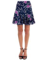 Nina Ricci Blue Floral-print Skirt - Lyst