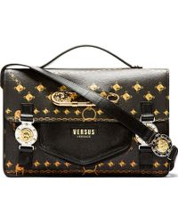 Versus  Black and Gold Chain and Stud Print Satchel Bag - Lyst