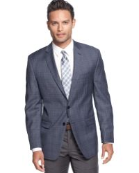 Calvin Klein Medium Blue Plaid Slim Fit Sport Coat Big and Tall - Lyst