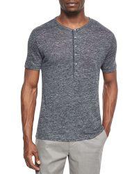 Theory Linen Henley T-Shirt black - Lyst