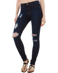 Akira Black Label - Slashed & Frayed Skinny Dark Blue Denim Jeans - Lyst